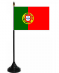 Portugal Desk / Table Flag with plastic stand and base.